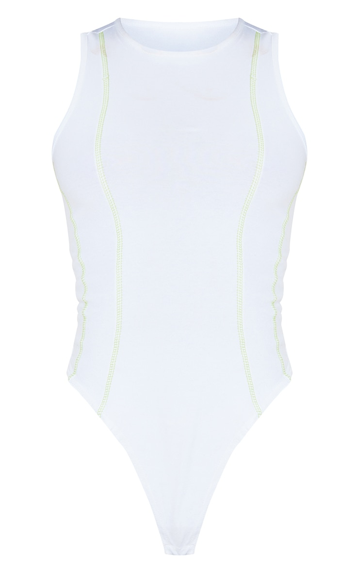 Tall - Body blanc à coutures contrastantes détail dos nageur 5