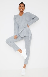 Grey Belted Longline Sweater And Legging Lounge Set 1