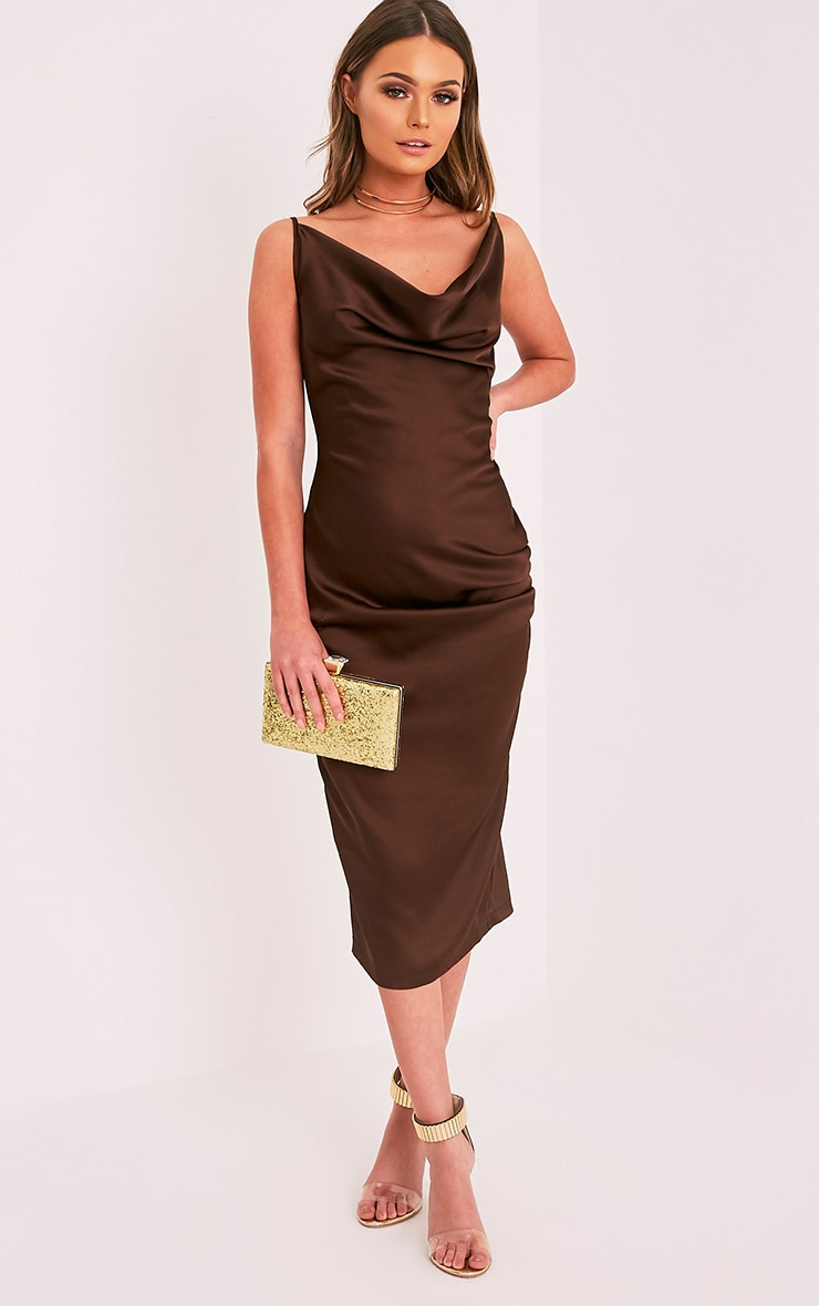 Jaydia Brown Silky Cowl Neck Midi Dress 4