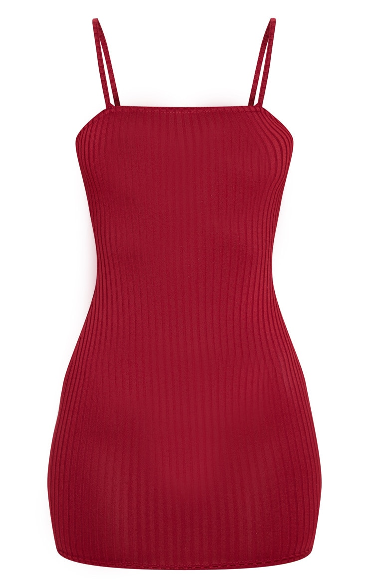 Burgundy Rib Strappy Bodycon Dress 3