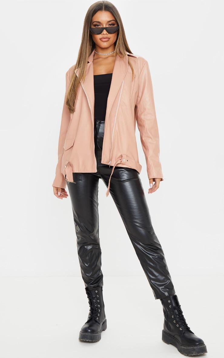 Dusty Pink Faux Leather Biker Jacket 1