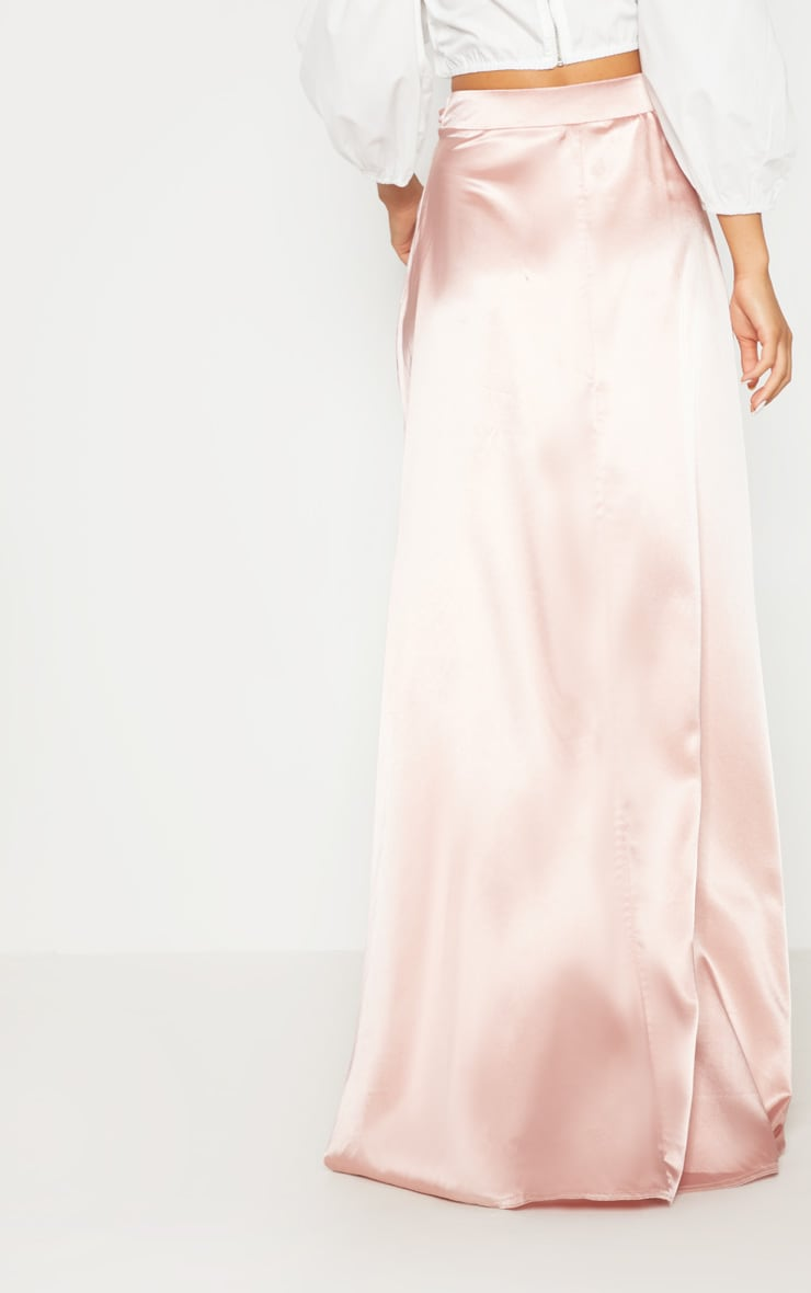 Blush Satin Wrap Maxi Skirt 4