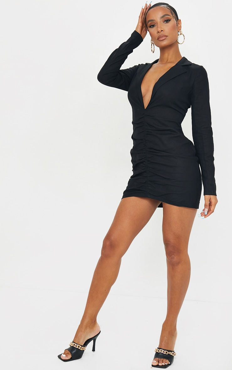 Black Plunge Ruched Front Blazer Dress 3