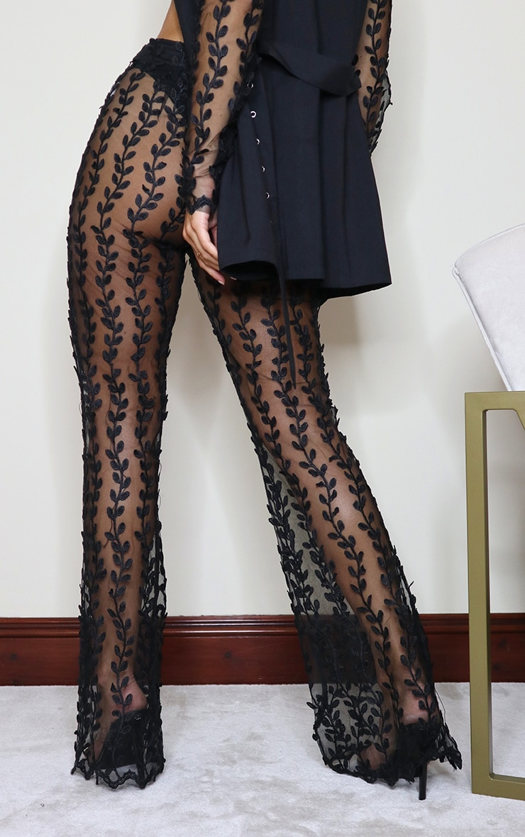 Black Woven Sheer Lace Flared Trousers 4