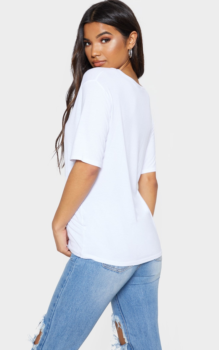 Basic White V Neck T Shirt 2