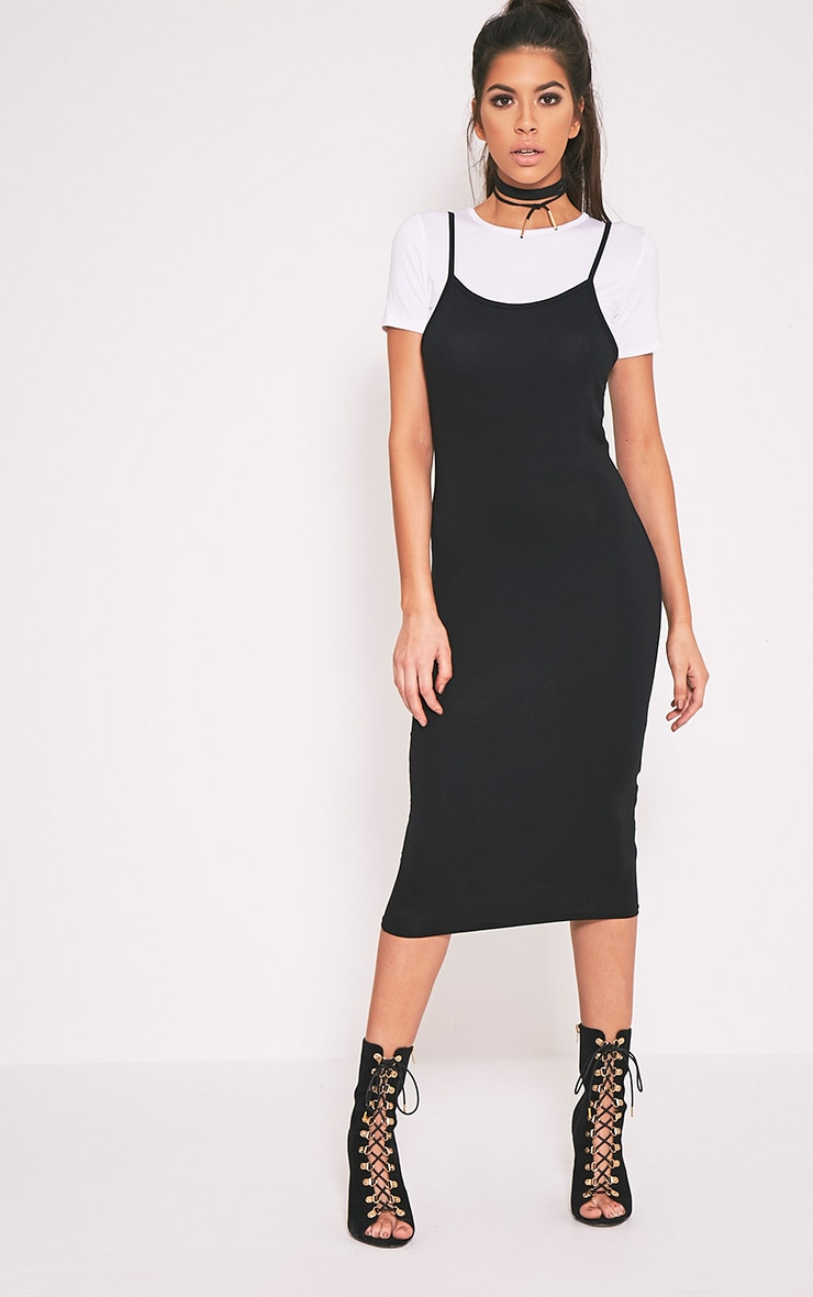Ensemble Basic t-shirt noir et robe midi 1