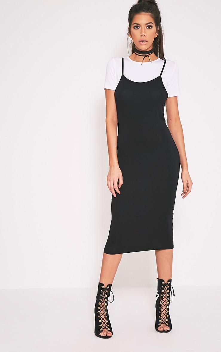Ensemble Basic t-shirt noir et robe midi 1