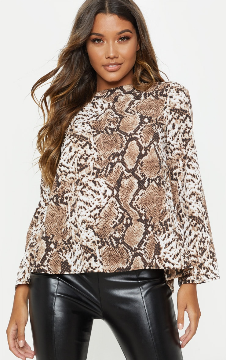 Stone Snake Print Backless Blouse 4