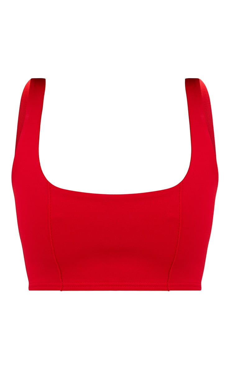 Red Square Neck Zip Back Crop Top 3