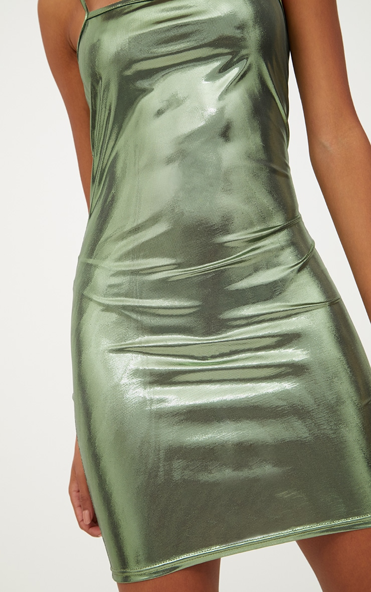 Petite Khaki Square Neck Metallic Mini Dress 5