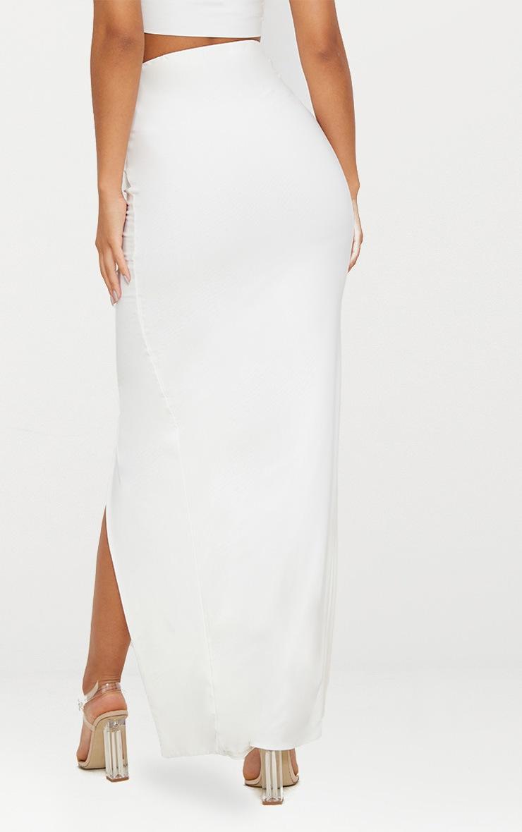 White Slinky Split Midaxi Skirt 4