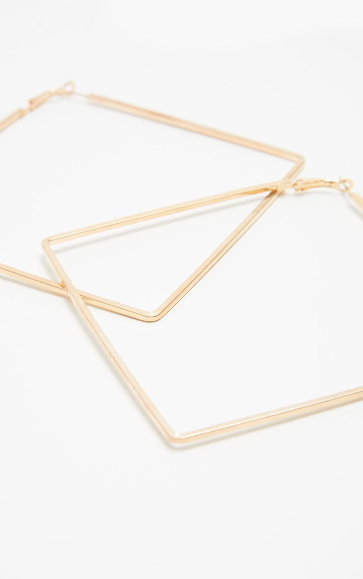 Gold Square Large Hoop Earring 3