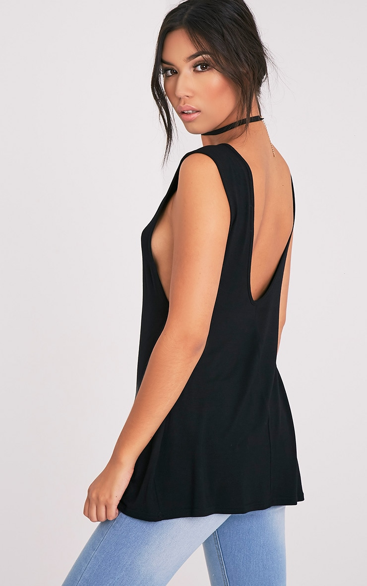 Basic Black Jersey V Back Longline Vest 1
