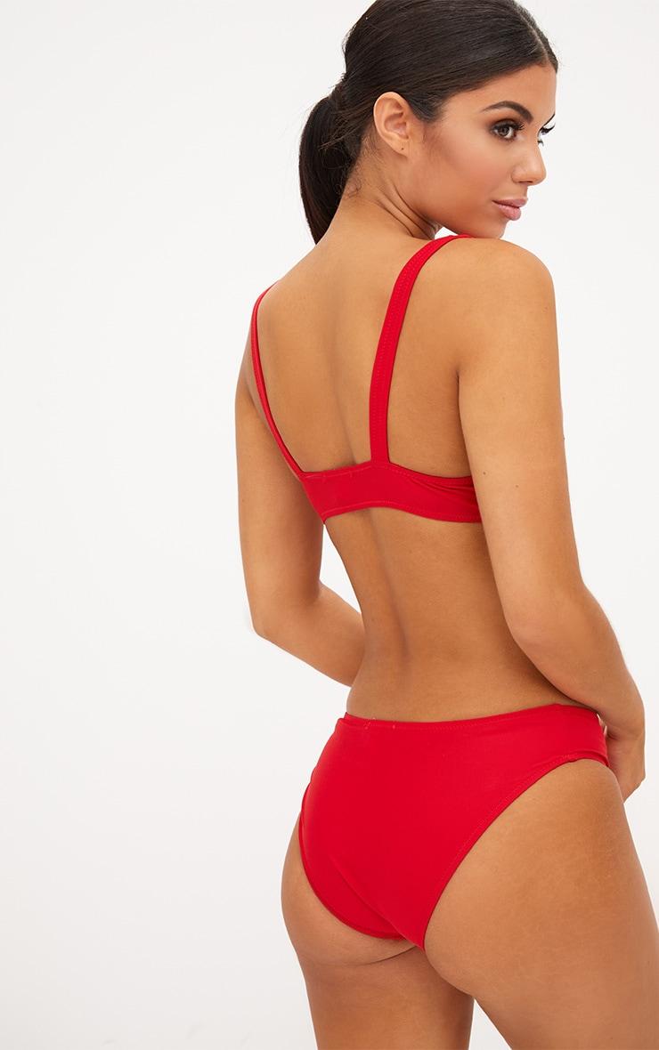 Red Zip Front Plunge Bikini Top 2
