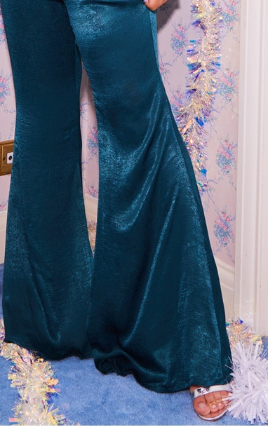 Plus Emerald Green Tailored Extreme Flared Pants 5