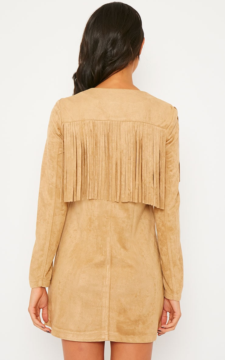 Elvin Camel Suede Fringe Mini Dress 2
