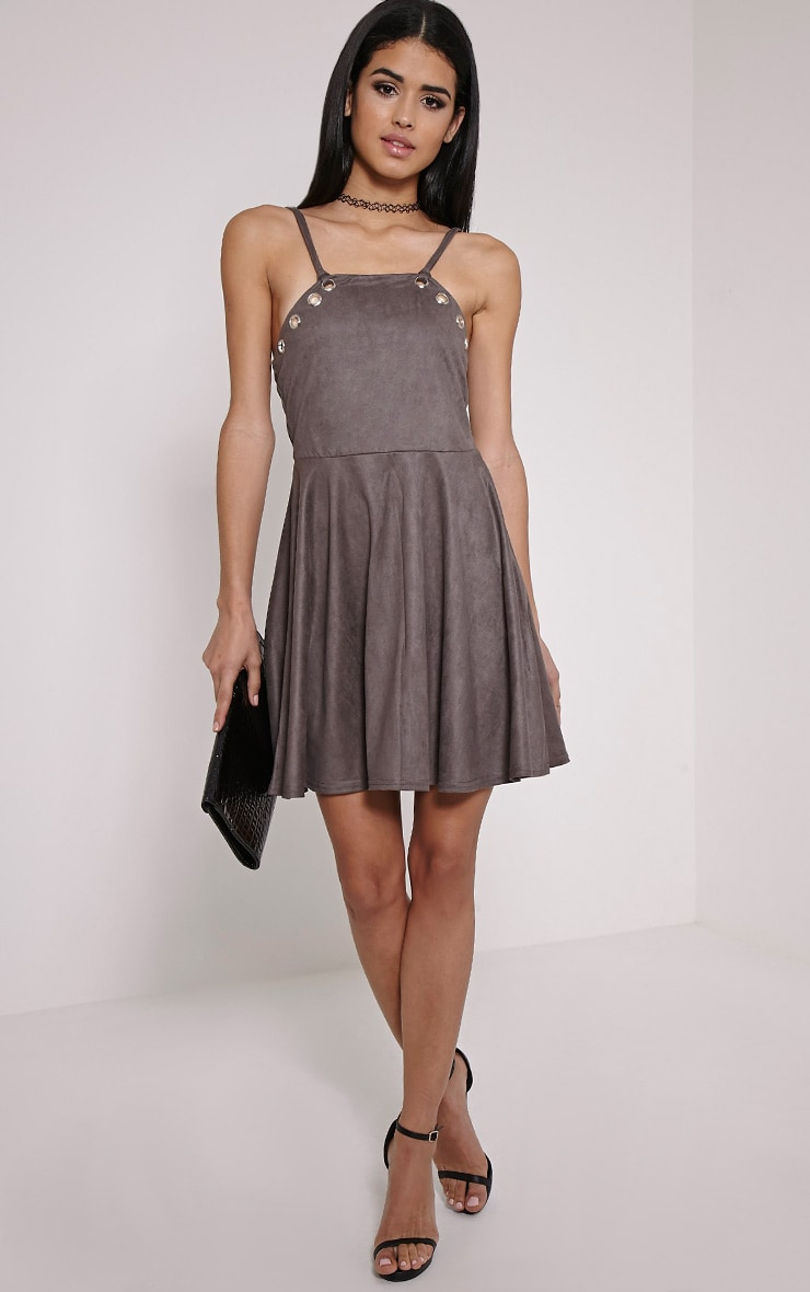 Issa Charcoal Eyelet Faux Suede Skater Dress 3