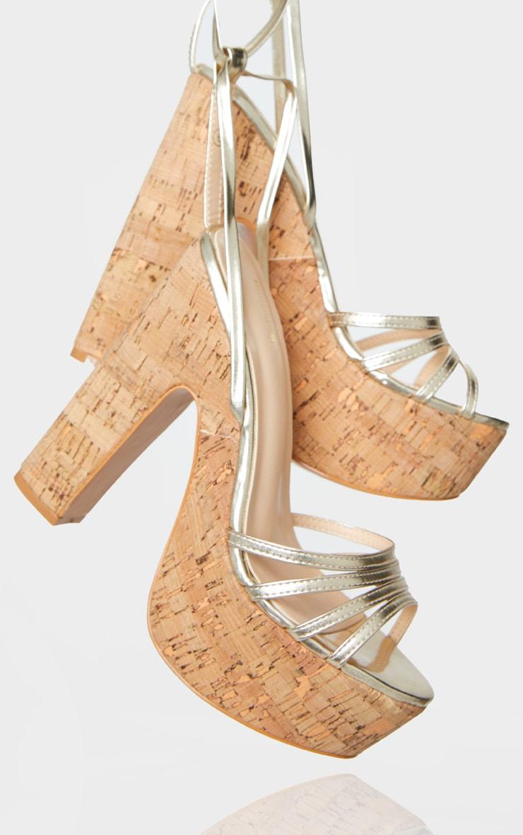Gold Multi Strappy Ankle Tie Cork Platform Heeled Wedge Sandals 4