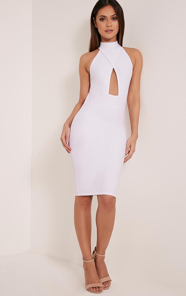 Torie White Keyhole Wrap Midi Dress 5
