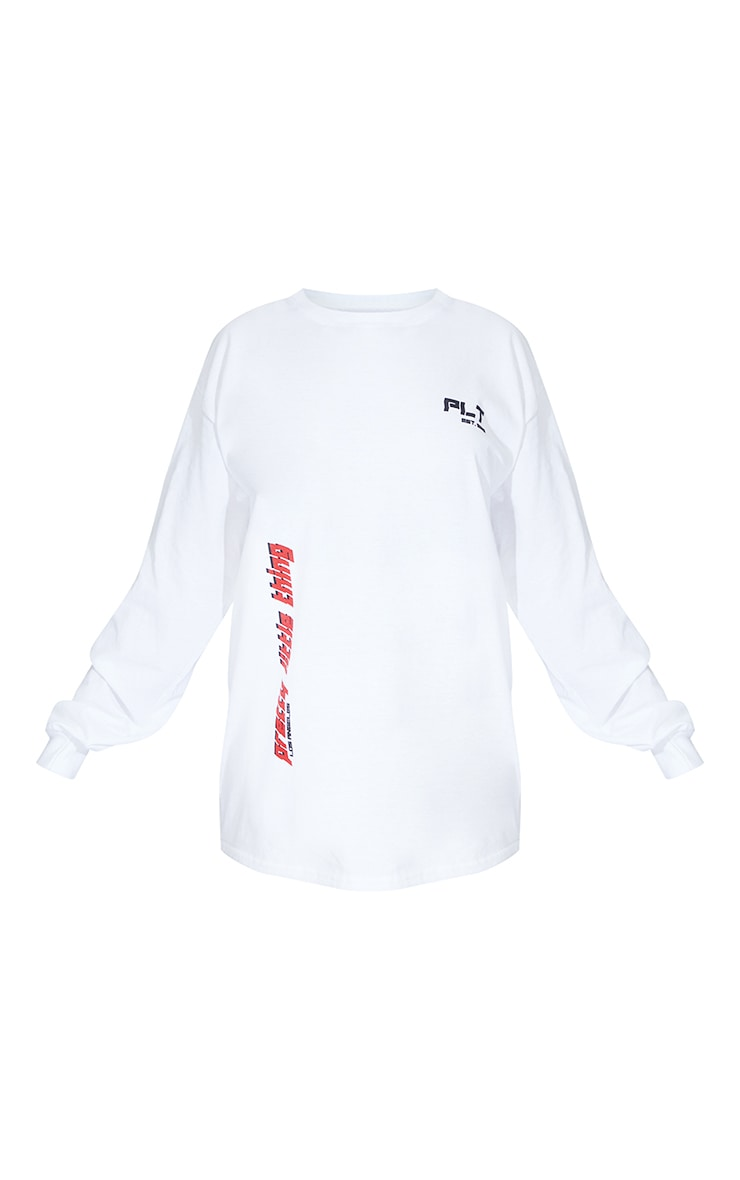 PRETTYLITTLETHING White Double Print Long Sleeve T Shirt 5