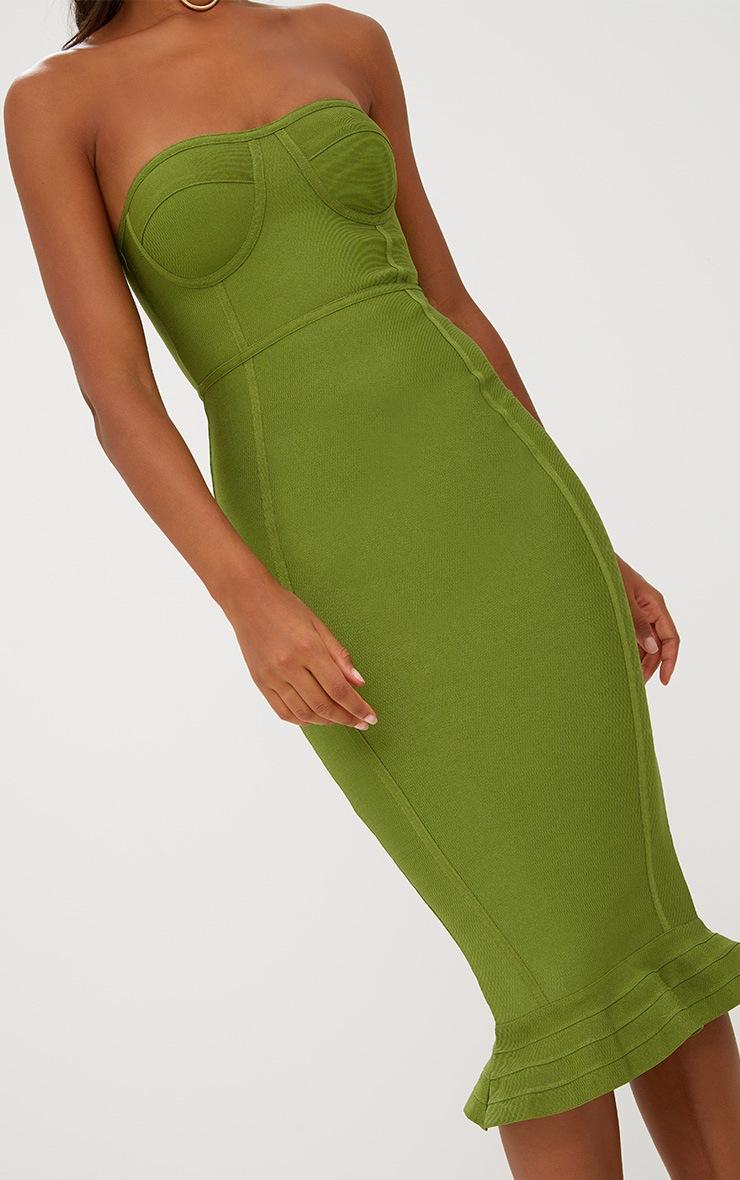 Olive Bandage Frill Hem Midi Dress 5