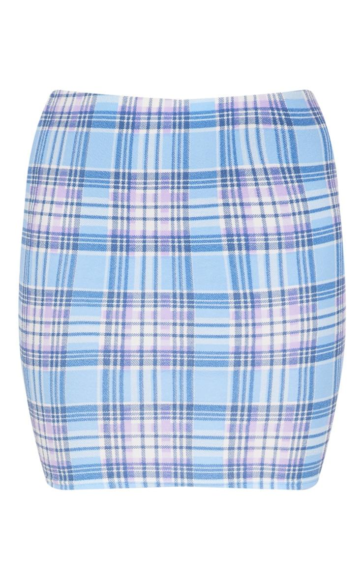 Blue Check Print Crepe Mini Skirt 3