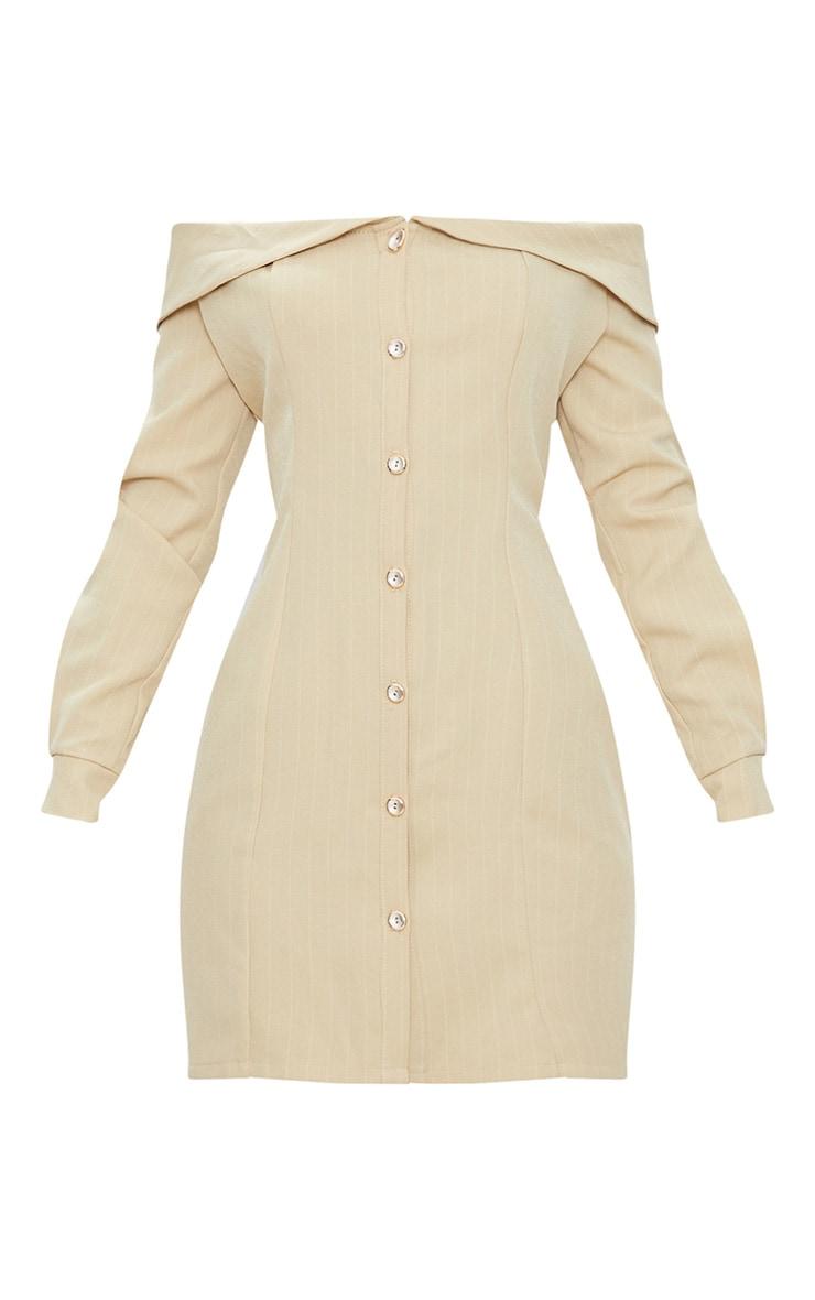 Stone Striped Bardot Button Detail Bodycon Dress 3