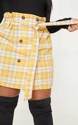 4c01ff3eee3 Plus Mustard Checked Paperbag Mini Skirt image 6