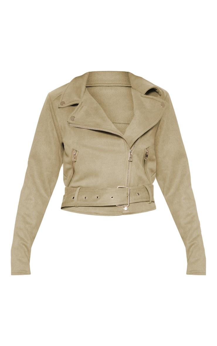 Khaki Faux Suede Biker Jacket 3