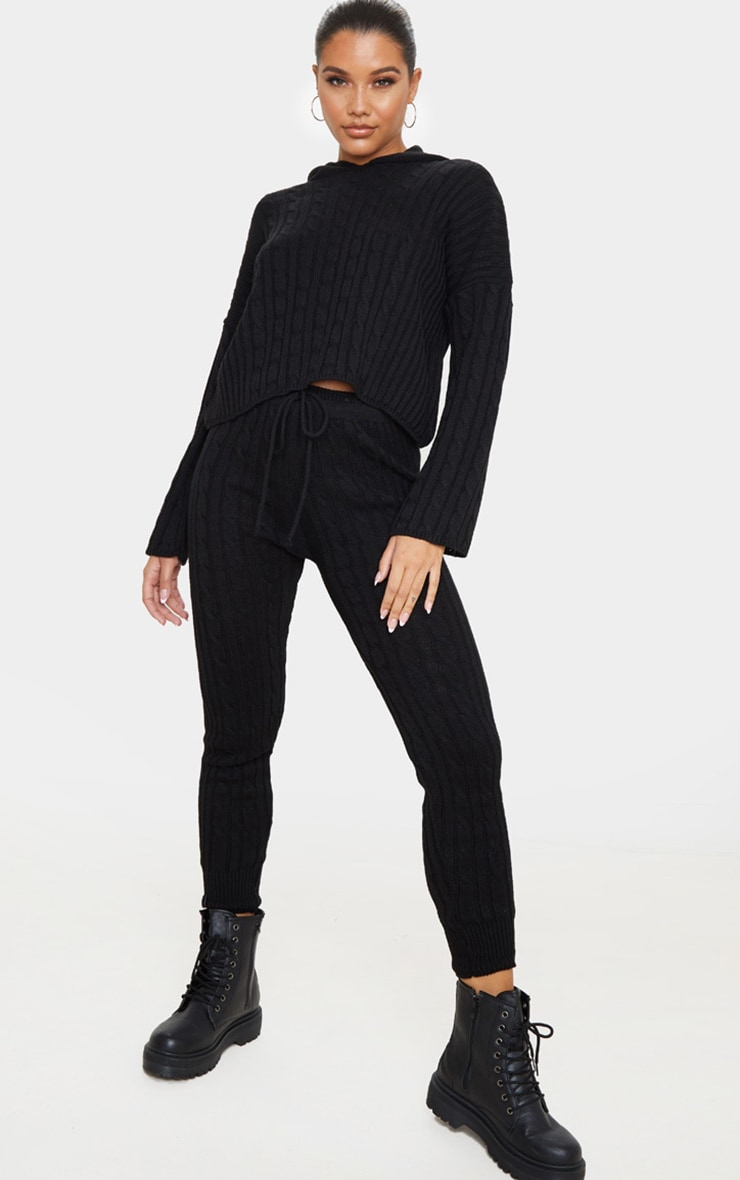 Black Cable Knitted Hooded Lounge Set 1
