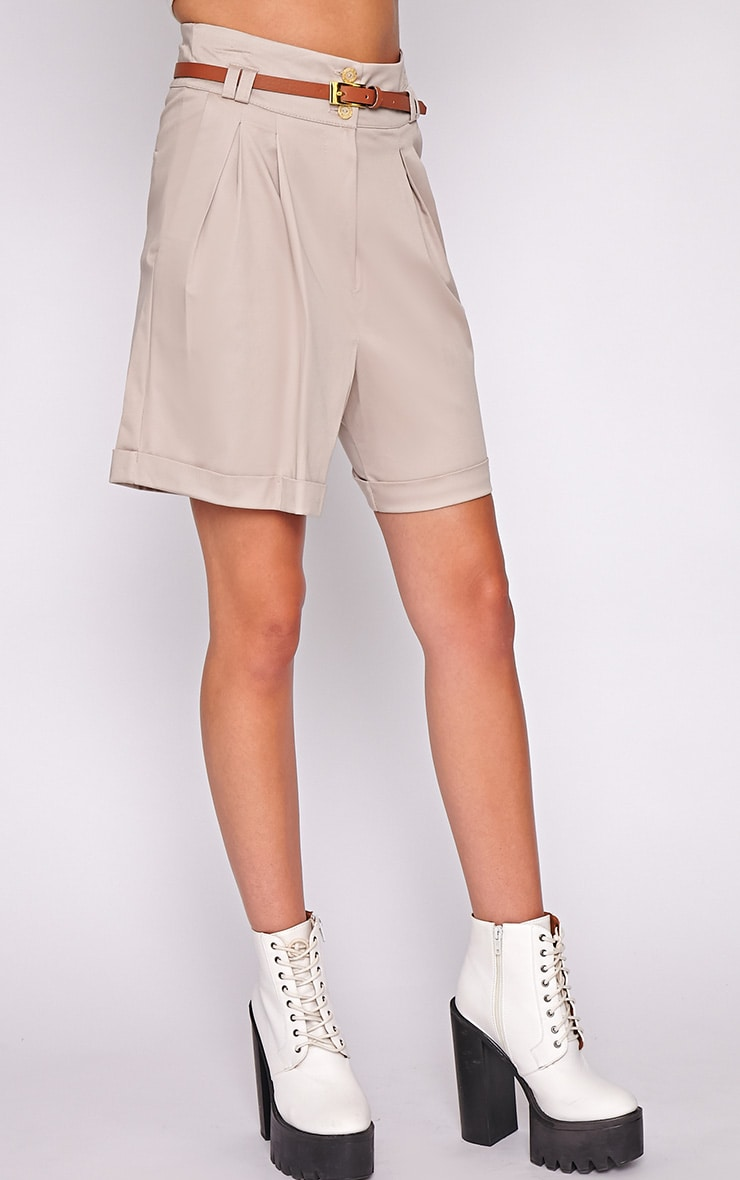 Sally Beige Tailored Shorts 3