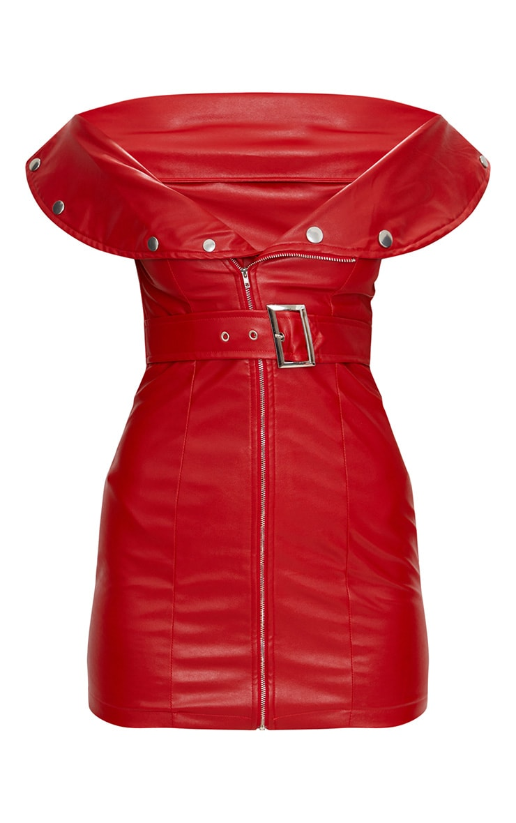 Red Faux Leather Bardot Waist Belt Bodycon Dress 3