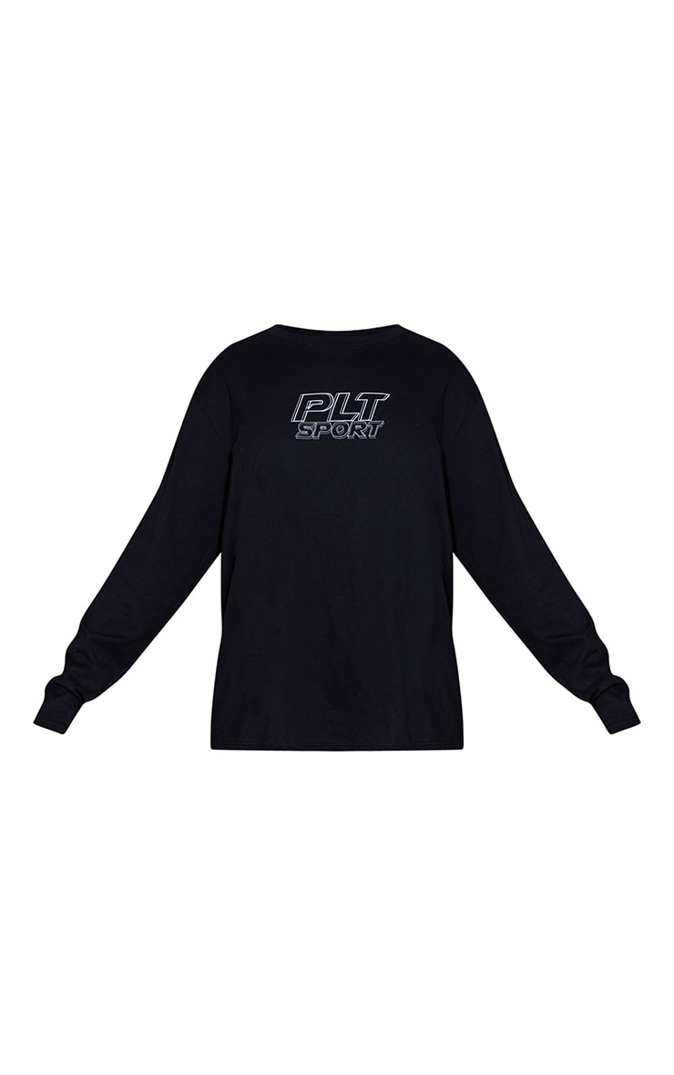 PRETTYLITTLETHING Black Long Sleeve Oversized Sports Top 5