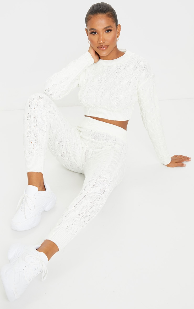 Cream Cable Knit Leggings And Sweater Set 3