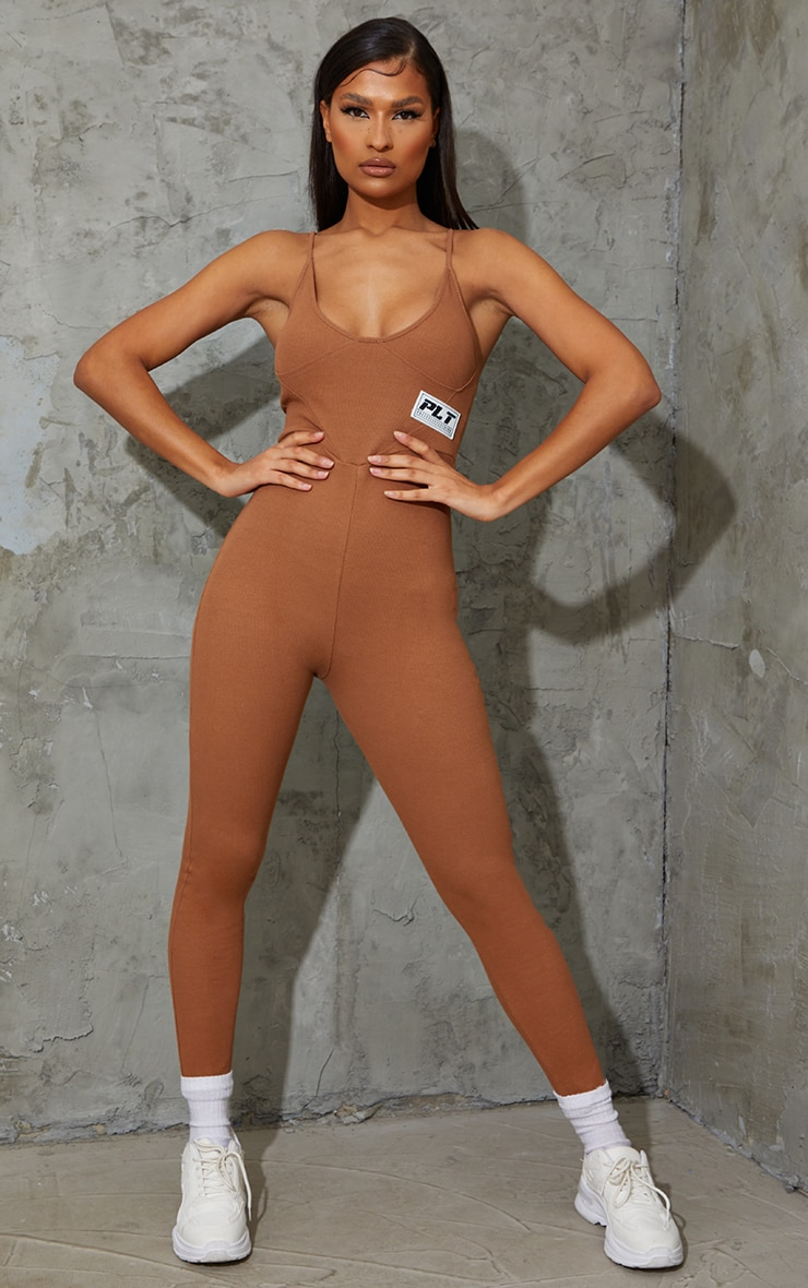 PRETTYLITTLETHING Chocolate Strappy Thick Rib Binding Jumpsuit 3