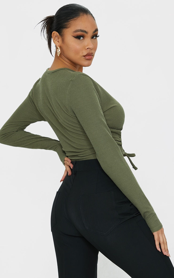 Khaki Textured Rib Ruched Waist Long Sleeve Crop Top 2
