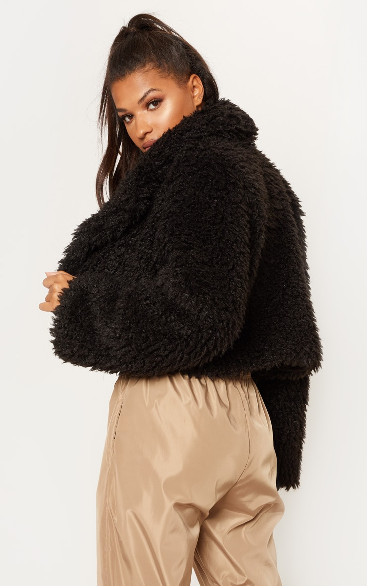 Black Teddy Faux Fur Cropped Jacket  2
