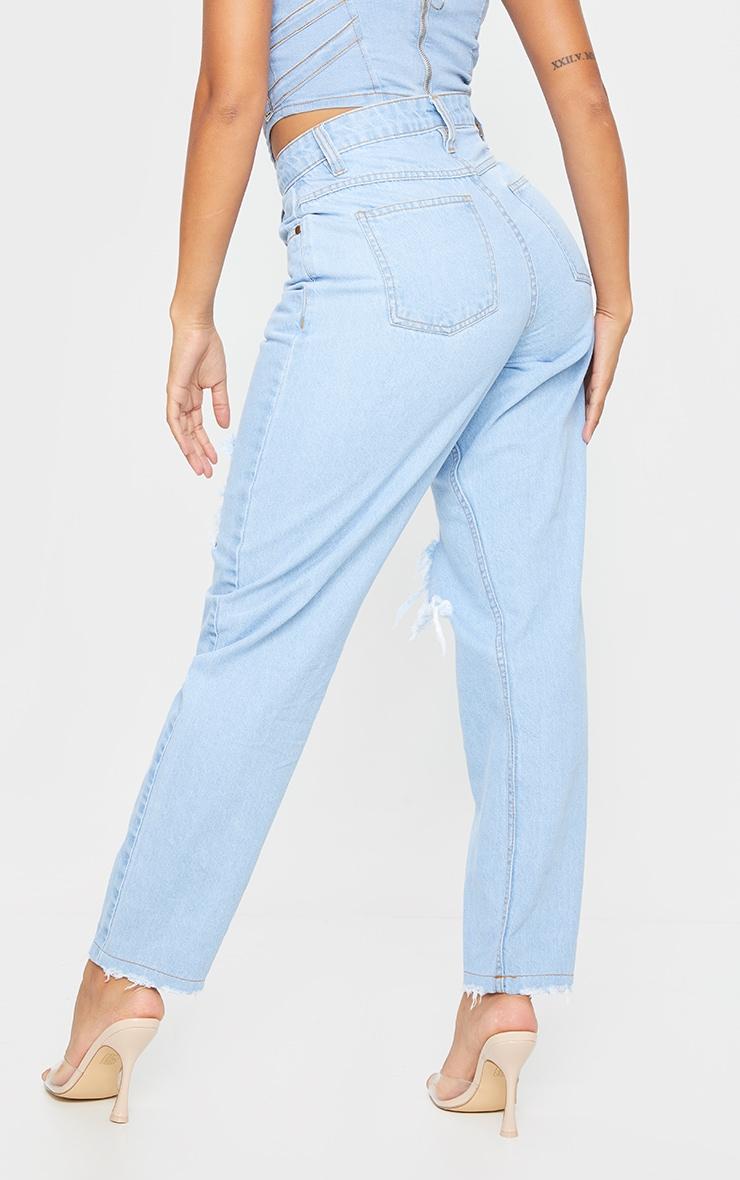 Shape Light Blue Wash Extreme Ripped Boyfriend Jeans 3