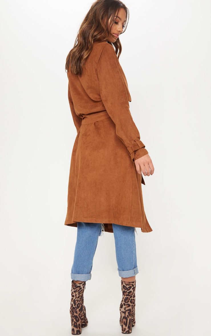 Brown Faux Suede Trench  2