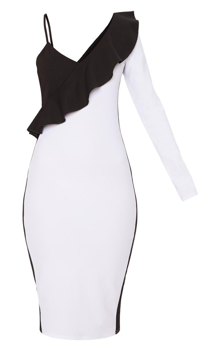 White One Shoulder Frill Detail Colour Block Midi Dress 3