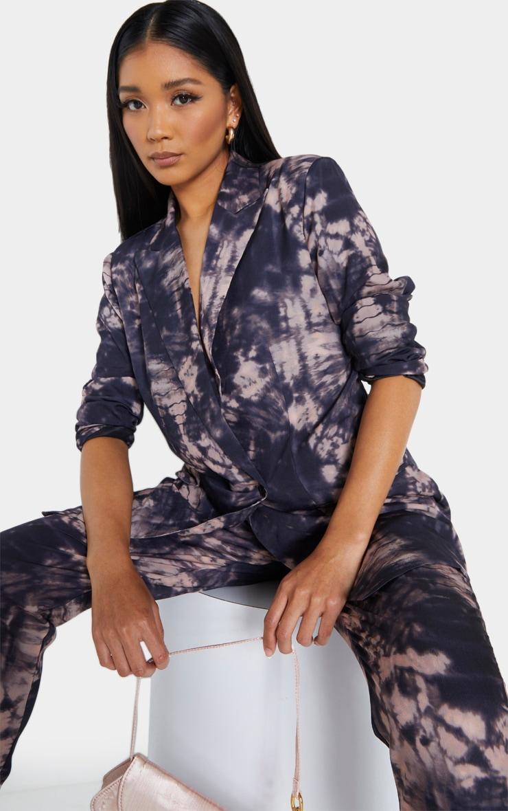 Grey Tie Dye Print Woven Oversized Double Breasted Blazer 1