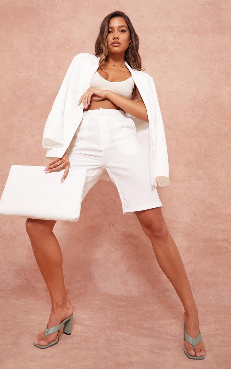 White Woven Longline Suit Shorts image 1