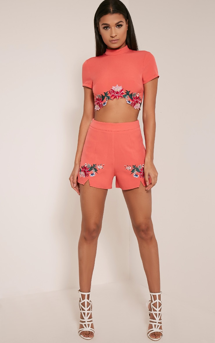 Charis Coral Floral Embroidered Shorts 7