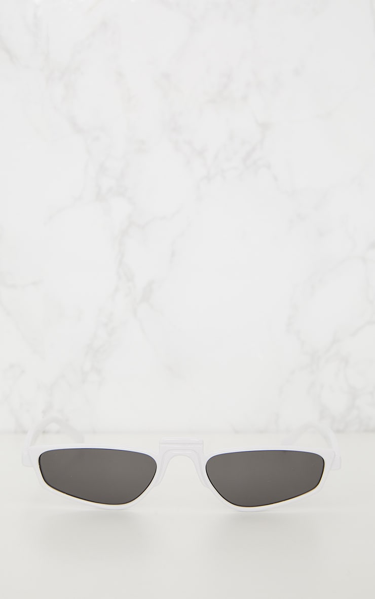White Thin Retro Sunglasses 4