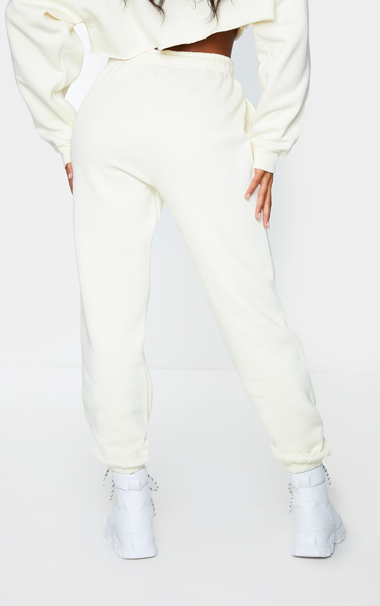 PRETTYLITTLETHING Cream Branded Archive Printed Joggers 3