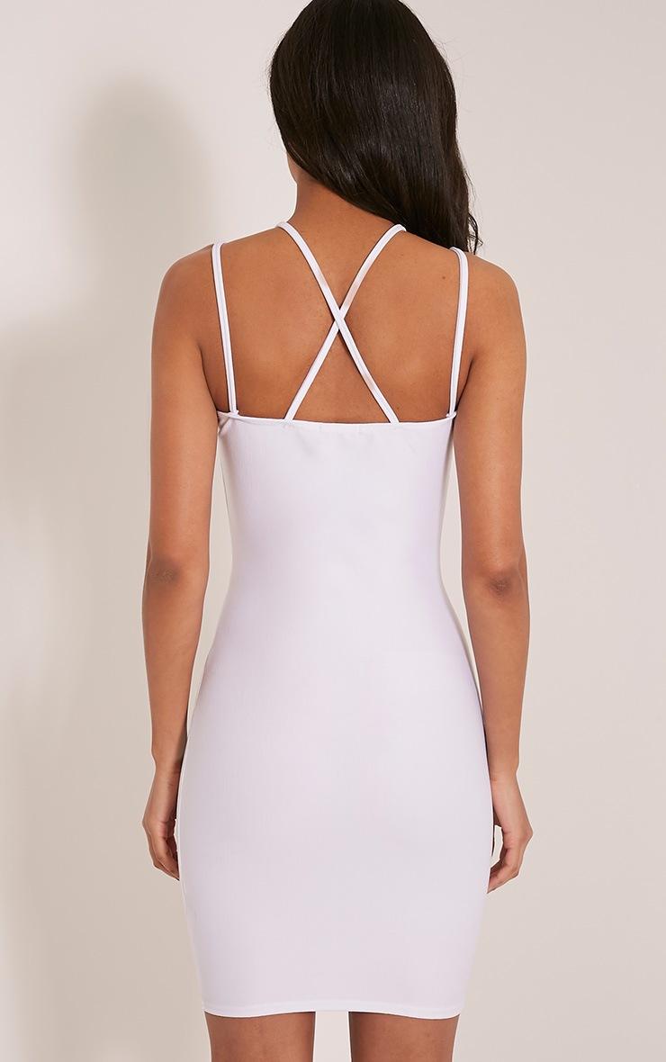Maden White Strappy Detail Bodycon Dress 2