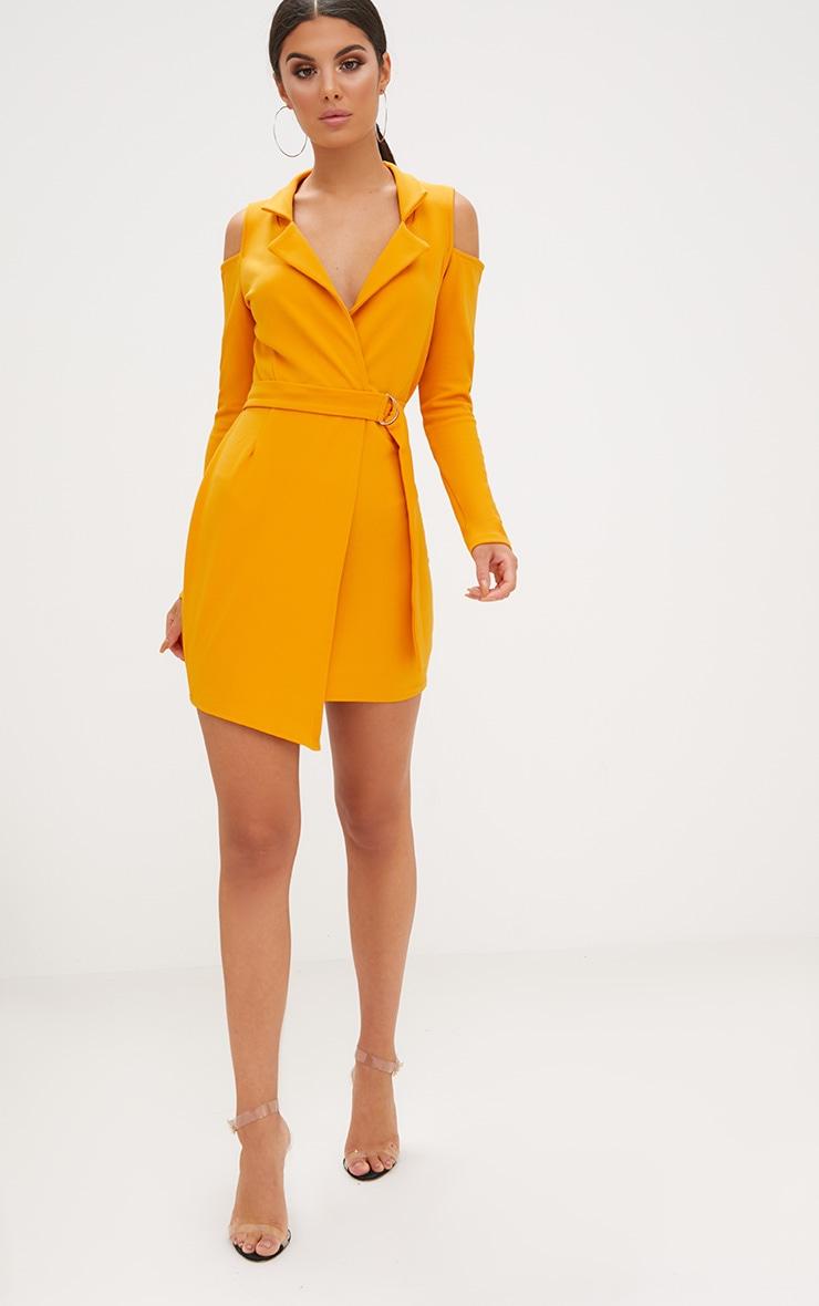 Mustard Cold Shoulder Blazer Dress 4