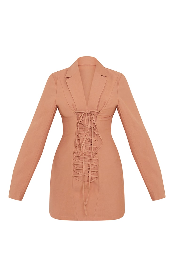 Camel Plunge Lace Up Front Blazer Style Bodycon Dress 5