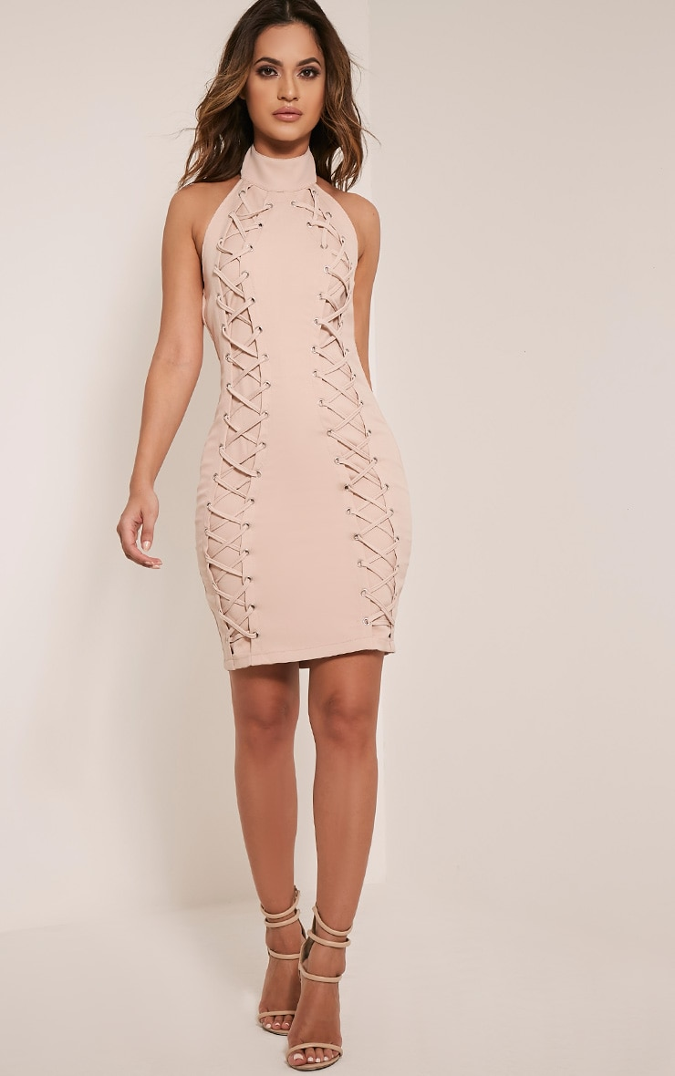 Milla Nude Lace Up High Neck Bodycon Dress 5
