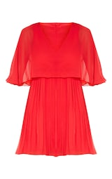 Red Cape Pleated Detail Skater Dress 3